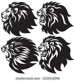 Set of Lion Head Logo Collection. Premium Design Cartoon Esports Mascot Vector Illustration
