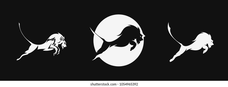 Set of lion jumping, wild animal, sign, tshirt print, vector illustration