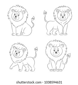 Set of lions for coloring book.Isolated on white background.Line art design.Vector illustration