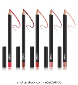 Set of lip pencil mockup. Package design premium cosmetic ads template. Realistic 3D illustration for your design