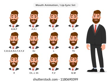 Set of lip sync collection for animation of the talking businessman. Business man's mouth and lips sync for sound pronunciation. Learning English alphabet. Concept illustration in cartoon style.