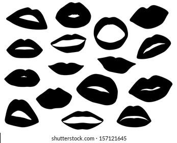 Set of lips illustrated on white