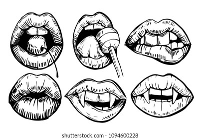 Set of lips with lolipop, cherry, vampire teeth. Hand drawn sketch converted to vector. Isolated outline