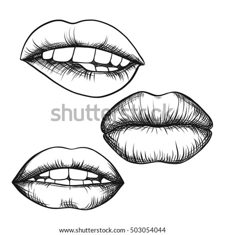 set lips open mouth tongue mouth stock vector royalty free