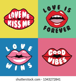 Set of Lips with Sl...Isolated Vector Prints