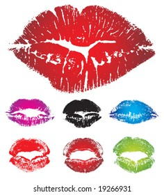 Set of lipstick prints. vector