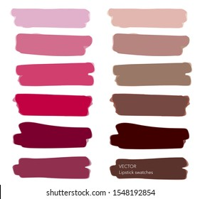 Set of lipstick swatches, isolated on white background. Makeup swatches. Pink, red, berry, beige, mauve and brown color lipstick. Vector.
