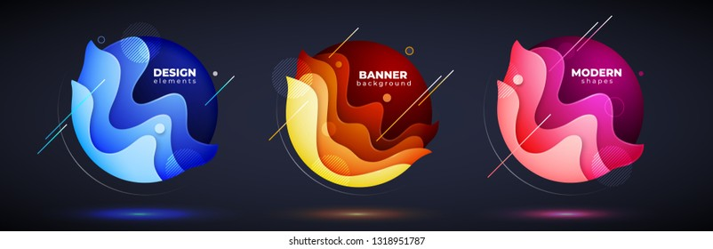 Set of liquid abstract geometric circle. Fluid gradient elements for minimal banner, logo, social post on dark background. Futuristic trendy dynamic design. Abstract background. Eps10 vector.