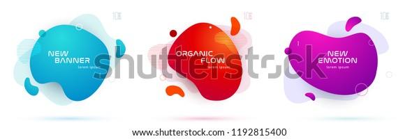 液体色の抽象的な幾何学的形状のセット。最小限のバナー、ロゴ、ソーシャル投稿用の流動的なグラデーションエレメント。未来的なトレンディ動的エレメント。抽象的な背景。EPS10のベクター画像。