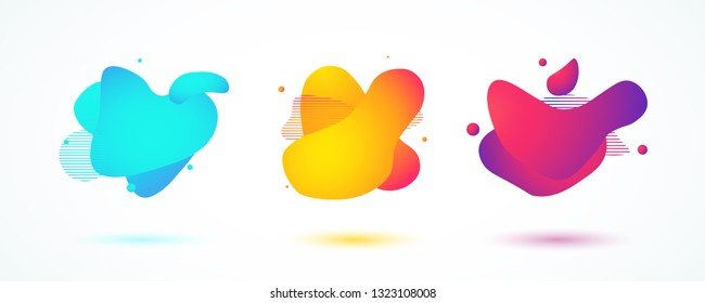 Set of liquid color abstract shapes. Fluid design colorful banners. Vector illustration. EPS 10