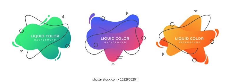 Set of Liquid Color Background Gradient. Liquid colored forms and line. Gradient abstract banners with flowing liquid shapes. Template for the design of a flyer or presentation. EPS 10 Illustration