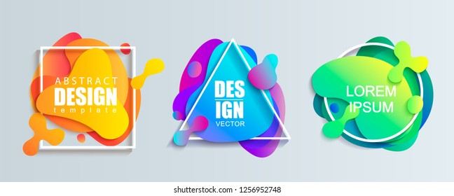 Set of liquid gradient color abstract geometric shapes.Modern banner with fluid design.Circle, triangle and square frames with wavy brighr splashes.Ready template for web, print, covers, design, logo.