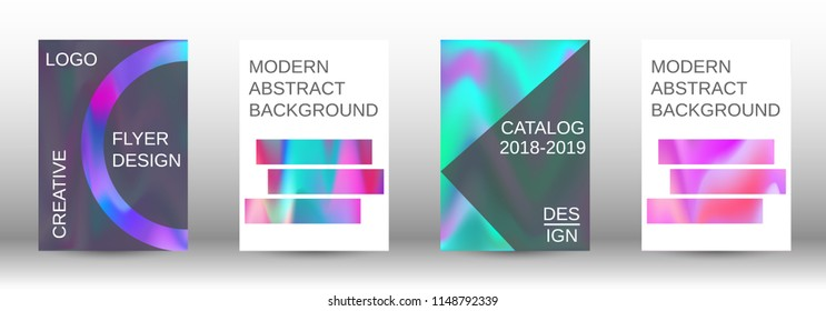 Set for liquid. Holographic abstract backgrounds. Bright mesh blurred pattern in pink, blue, green tones. Fashionable advertising vector in retro  for book, annual, mobile interface, web application.