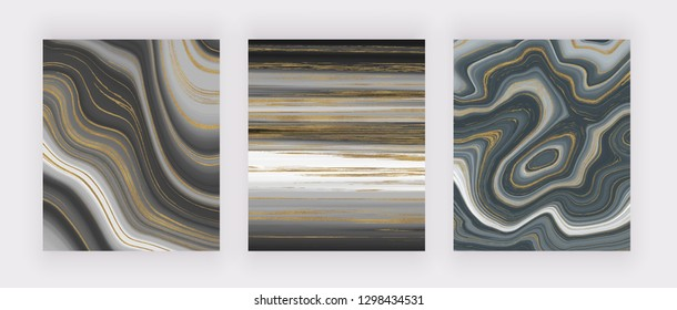 Set liquid marble texture. Grey and golden glitter ink painting abstract pattern. Trendy backgrounds for wallpaper, flyer, poster, card, invitations. Modern art.