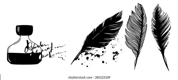 set of liquid watercolour, ink spot and feathers - vector digital artwork