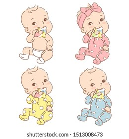 Set with little baby boy, girl in diaper or pajamas hold teething ring . Cute toddler child with toy  in mouth. Color vector illustration. Baby in jumpsuit. First year games. Baby hold teething toy.