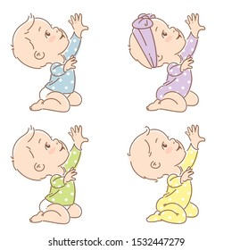 Set  of little baby in diaper sit, pull hand up. Active baby boy, girl of age of 6-12 months reaching for the toy. First year of child. Baby growth. Healthy baby play. Color vector illustration.