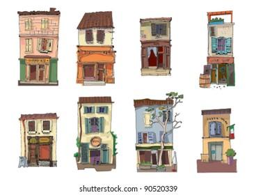 set of little buildings