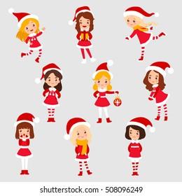 Set of little christmas girl cartoon isolated on white background vector illustration