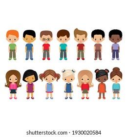 Set of little cute boys and girls. Cartoon children. Vector illustration