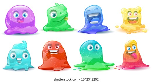 Set of  little cute cartoon colorful glitter. Cartoon litter slime characters set. Slime dribbles and alien slimy. Vector illustration