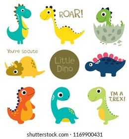 Set of little cute dinos. Vector illustration.