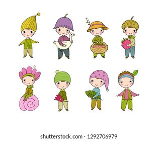 Set with little cute gnomes. Forest elves. Doodle boys in fancy dresses. Fairy-tale character