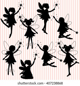 Set of little fairy silhouettes