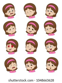 Set of Little girl face expression,vector illustrations isolated on white background.