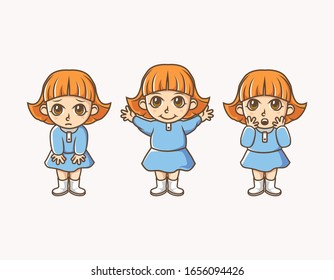 set of little girl wearing blue dress illustration with different facial expression. used for character, icon, mascot and other.
