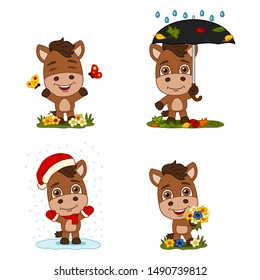 Set of little horse in different seasons - summer, autumn, winter, spring.
