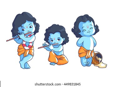 set little krishna vector cartoon 260nw 449831845