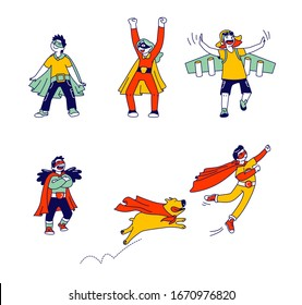Set of Little Super Hero Kids Wearing Costumes and Red Cloak Having Fun and Playing with Dog Isolated on White Background. Children Characters Theater Performance. Linear People Vector Illustration