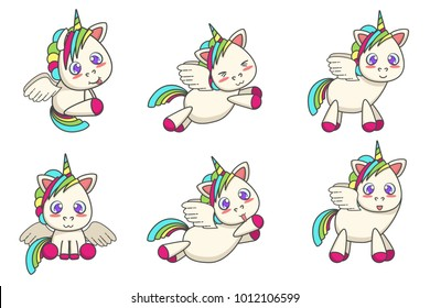 Set of little winged unicorns with different poses Vector cartoon illustration