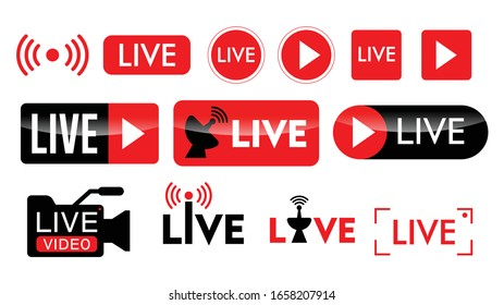 set of live streaming icon or live broadcasting online concepts. eps 10 vector