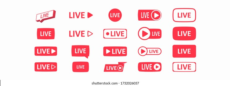Set of live streaming icons. Large set of buttons. Live streaming, broadcasting, online stream. Template for tv, shows, movies and live performances. Social media concept. Vector illustration