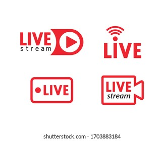 Set of live streaming icons. Red symbols and buttons of live streaming, broadcasting, online stream. Lower third template for tv, shows, movies and live performances. Vector
