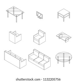 Set of Living room furniture. Chair, Sofa, table and television. Outline Isometric Drawing Vector.