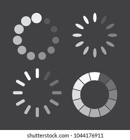 Set of loading icons in a flat design. Vector illustration.