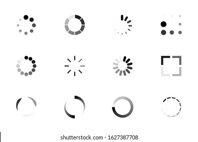 Set of Loading icons. Indicator for the loading process. Load upload download round process.