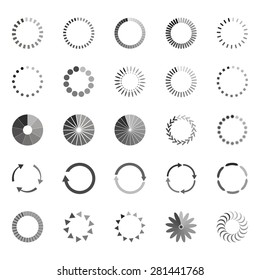 Set of loading status icons, vector illustration