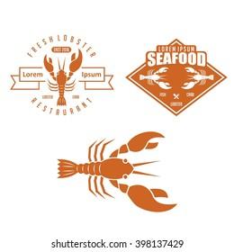 Set of lobster seafood badges and design elements