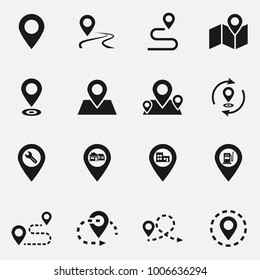 Set of location flat vector icons. Pin point illustration.