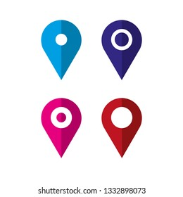 Set of location map icon. Vector illustration.