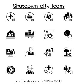 Set of Lock down city from virus crisis related vector icons. contains such Icons as Shutdown city, state quarantine, flight cancellation, business closed, and more.