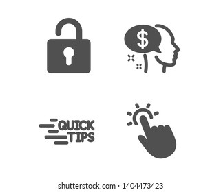 Set of Lock, Education and Pay icons. Touchpoint sign. Private locker, Quick tips, Beggar. Touch technology.  Classic design lock icon. Flat design. Vector