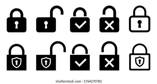 Set of lock icon, padlock silhouette with transparent check mark