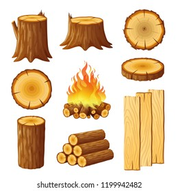 Set of logging, stumps and boards, woodpile. Logging icons isolated on white background. Vector illustration in flat style.