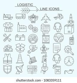 Set logistic vector line icons editable stroke