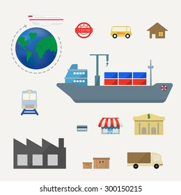 set of logistics icon flat design- Vector